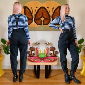"Vintage 80s black denim suspender overalls S 26"""
